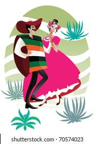 Mexican couple. The Mexican couple, man and woman, dance Latin American  dancing in traditional costumes