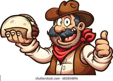 Mexican cowboy holding a taco. Vector clip art illustration with simple gradients. All in a single layer.
