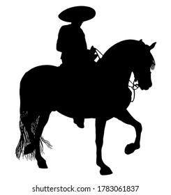 Mexican cowboy riding a charro horse vector graphic silhouette in black on white background