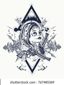 4a0bb526f Mexican criminal tattoo art and t-shirt design. Wild west woman and  mountains.