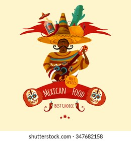 Mexican cuisin menu front page symbol in a cartoon style