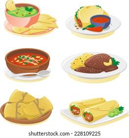 Mexican cuisine dishes cartoon illustration set