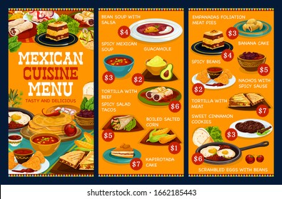 Mexican cuisine food menu, authentic Mexico restaurant dishes. Vector traditional Mexican lunch and dinner meals, bean soup with salsa, guacamole and beef tortilla, nachos and empanadas