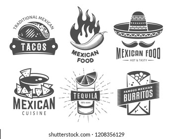 Mexican cuisine logos. Vector badges with traditional mexican food. Emblems for tacos, burritos, nachos, tequila. Set of vintage labels for cafe, fast food restaurant or taqueria