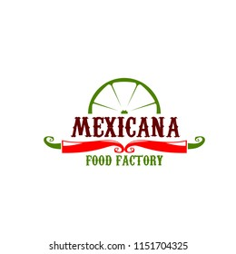 Mexican cuisine or Mexicana food factory icon design for restaurant or fast food bar cafe. Vector isolated symbol of Mexican chili jalapeno red pepper, and lime for fastfood restaurant