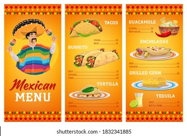 Mexican cuisine restaurant menu vector template with food and drink. Meat and vegetable tacos, burritos, tortilla quesadillas and enchiladas, nachos with guacamole sauce, tequila and grilled corn cobs