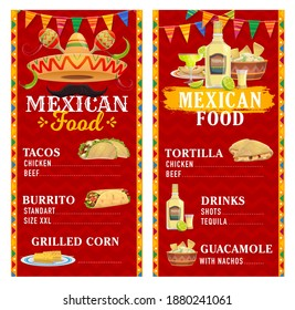 Mexican cuisine restaurant menu vector template with food and drinks, sombrero hat, maracas and moustache. Taco, burrito, tortilla quesadilla and guacamole, tequila, margarita, lime and grilled corn