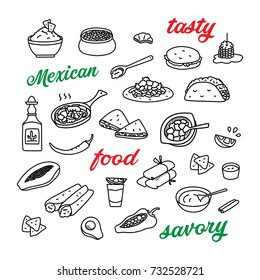 Mexican cuisine, traditional food hand drawn doodle icons set with tequila, quesadillas, burritos, tacos, nachos.