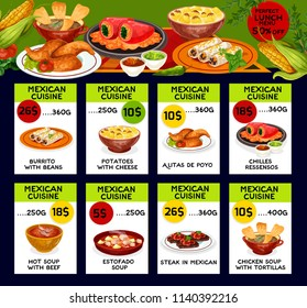 Mexican cuisine traditional food menu price cards. Vector lunch offer design for burrito beans, potato with cheese or alitas de pollo and chilles ressensos, estofado beef soup Mexican steak