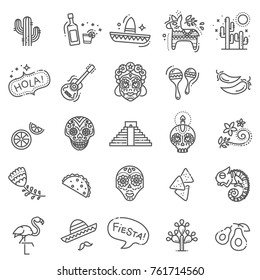 Mexican culture icons set. Day of the Dead
