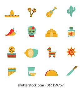 Mexican culture symbols flat icons set with tequila cocktail and hot chili peppers abstract isolated vector illustration