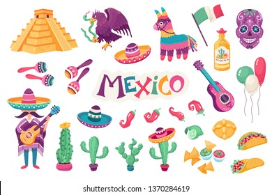 Mexican culture traditional symbols collection. Sombrero with guitar,  maracas, cactus and jalapeno vector illustration  isolated on white background. Mexican food. Skull and dead bread.