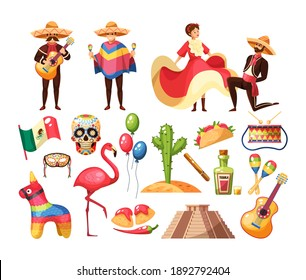 Mexican culture traditional symbols collection. Mens with guitars in traditional clothes costume and Mayan pyramid, musical instruments, guitar, maracas, cactus, food, tequila, flamingo, games vector