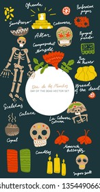 Mexican Day of the Dead  (Dia de los Muertos) vector set. Hand painted illustration made in funny doodle style. Social media frame. Template for stories mobile interface, ui, app, web.