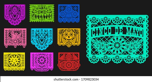 Mexican Day of Dead, papel picado isolated paper cutting flags templates. Vector traditional Mexico Dia de los muertos laser cutting decoration with floral pattern, mariachi skulls, sun and birds