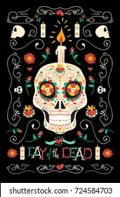 Mexican day of the dead poster illustration, hand drawn happy sugar skull with traditional tattoo style floral spring decoration. EPS10 vector.
