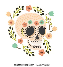 Mexican Day of the Dead sugar skulls with flower decoration. Vector cartoon cute and modern flat vector illustration.