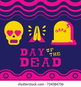 Mexican day of the dead traditional holiday illustration. Modern flat color style emoji icons, includes heart eyes skull, hands praying and grave. EPS10 vector.