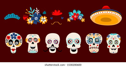 Mexican dead sugar heads. Floral wreath, hearts, hat and other accessorises. Vector funny skull images for day of the dead