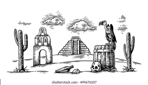 Mexican desert landscape with griffin sitting on barrel and skull, cactus, cloud, church, pyramid. For card, poster Day of the Dead. Vector hand drawn vintage engraving. Isolated on white background