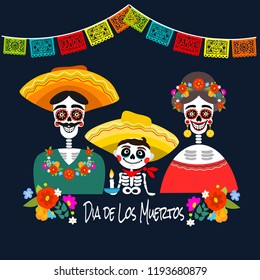 Mexican Dia de los Muertos (Day of the Dead) skeleton family, greeting card, vector illustration.