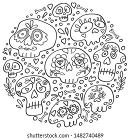 Mexican Dia de los Muertos skull in circle. Day of Dead holiday skulls. Round icon for the party. Circle concept with sugar skulls outline. Doodle style vector hand drawn.