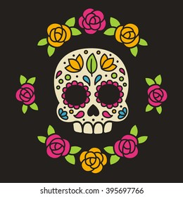Mexican Dia de los Muertos (Day of the Dead) sugar skull with flowers vector illustration.