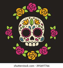 Mexican Dia de los Muertos (Day of the Dead) sugar skull with flowers vector illustration.