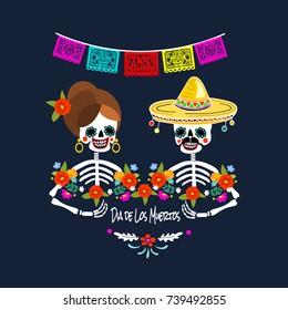 Mexican Dia de los Muertos (Day of the Dead) skeleton couple, greeting card, vector illustration.