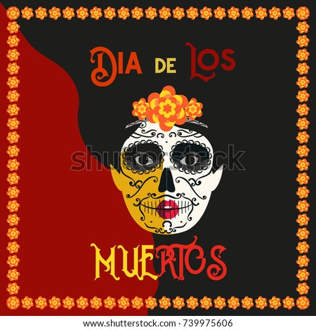 Mexican Dia De Los Muertos Day Stock Vector Royalty Free 739975606