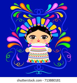 Mexican Doll with decorative ornaments vector illustration