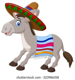 Mexican donkey wearing a sombrero and a colorful blanket. on white background