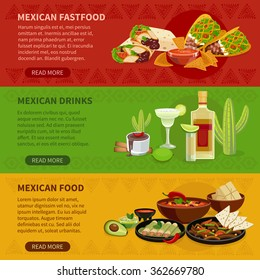 Mexican drinks snacks and famous dishes informative interactive horizontal banners set webpage flat abstract vector isolated illustration
