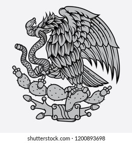 mexican eagle and snake tattoo, vector EPS 10
