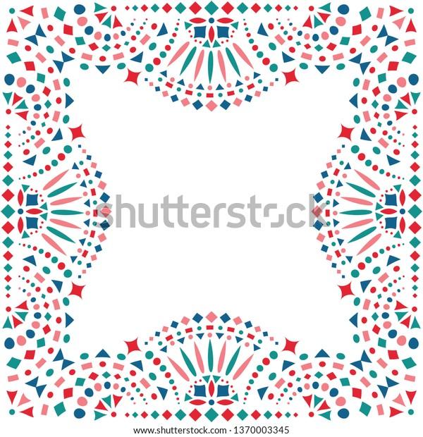 Mexican Embroidery Motif Border Card Invitation Stock Vector