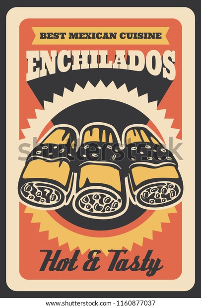 Mexican Enchilados Retro Poster Fast Food Stock Vector ...