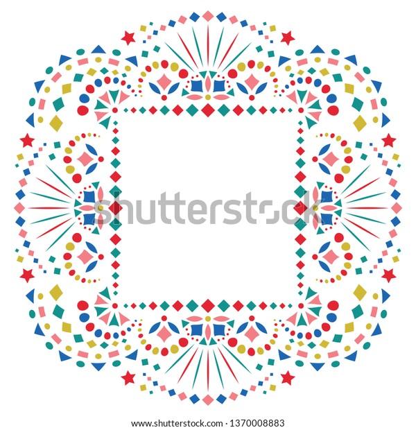 Mexican Ethnic Embroidery Motif Border Card Stock Vector