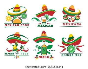 Mexican fast food logo set. Mexica menu symbols, nachos tacos red sauce salsa delicious dishes, restaurant labels with cactus jalapeno sombrero vector illustration