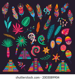 Mexican feathers, bones and palms, pyramids and flowers, chilli peppers, leaves and balloons. Mexican holiday, fiesta party or festival vector design elements with bright floral patterns