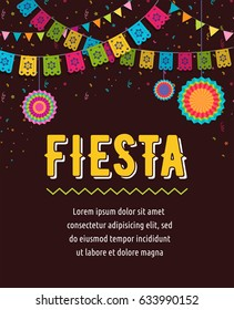 Mexican Fiesta Background Banner And Poster Design With Flags Decorations Greeting Card