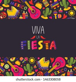 Mexican fiesta background, traditional decoration and design. Carnival and traditional celebration. Vector Mexican fiesta illustration on black background.