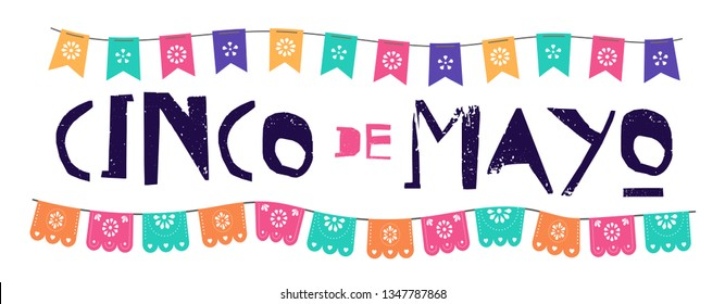 Mexican Fiesta banner and poster design with flags, flowers, decorations
