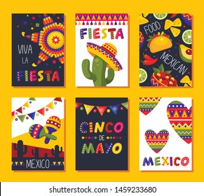 Mexican fiesta card set, festival decoration and design. Vector flat style cartoon mexican holiday illustration isolated on yellow background