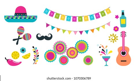Mexican Fiesta Cinco De Mayo Birthday Designs Elements And Icons