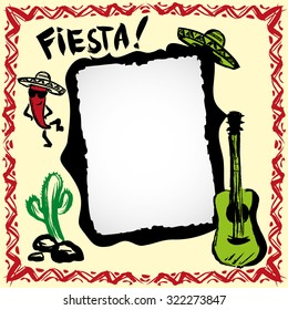 mexican fiesta frame with sombrero's, cactus, chili's and guitar, hand drawn vector