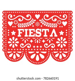 Mexican Fiesta Papel Picado vector design in red - party garland paper cut out with flowers and geometric shapes. Traditional decoartions from Mexico, party decor background isolated on white