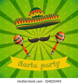 Mexican Fiesta Party Invitation with maracas, sombrero and mustache. Hand drawn vector illustration poster