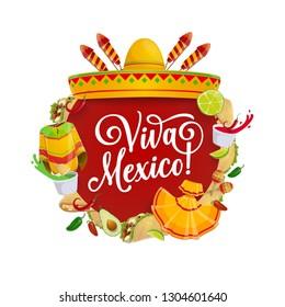 Mexican fiesta party sombrero, food and mariachi costumes vector design of Cinco de Mayo holiday. Chili tacos, nachos and avocado guacamole, festive hat, maracas, fireworks. Puebla Battle anniversary