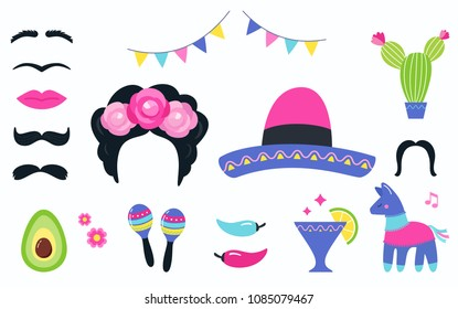 Mexican Fiesta Party Symbols and Photo Booth Props Set. Vector Design.