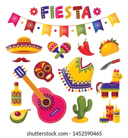 Mexican fiesta set, bright festival party decoration. Vector flat style cartoon  fiesta illustration isolated on white background